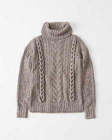 Cable Knit Turtleneck, TAUPE