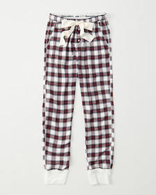 Flannel Sleep Joggers, WHITE AND RED PLAID