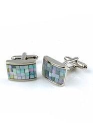 Isaac Mizrahi Check Stainless Steel Cuff Links