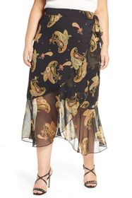 Vince Camuto Paisley Spice Ruffle Midi Skirt (Plus