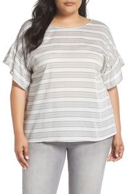 Vince Camuto Ruffle Sleeve Bar Stripe Top (Plus Si