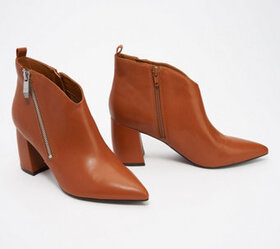 Marc Fisher Leather Booties with Zipper Detail - R