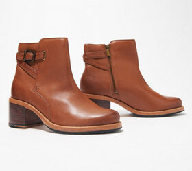 Clarks Leather Ankle Boots w/ Buckle Detail - Clar