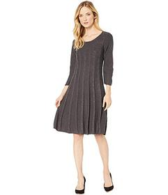 Nine West Crew Neck Cable Fit-and-Flare Knit Dress