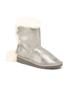 RAMPAGE Metallic Faux Shearling Boots (Little Kid,