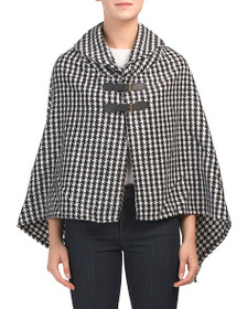 JONES NEW YORK Houndstooth Cape With Double Buckle