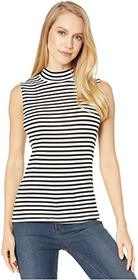 Splendid Striped Sleeveless Mock Neck