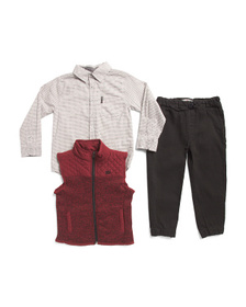 BEN SHERMAN Little Boys 3pc Sweater Vest Jogger An