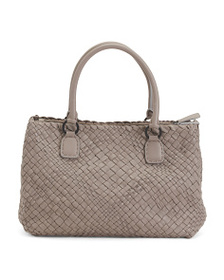 FALOR Made In Italy Woven Leather Tote