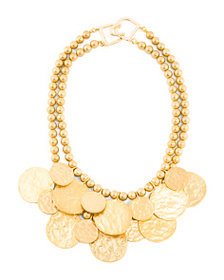 KENNETH JAY LANE 2 Row 24k Gold Plated Coin Neckla