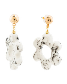 KENNETH JAY LANE Floral Spotted Ceramic Drop Earri