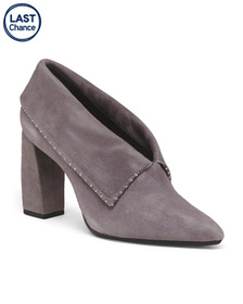 AEROSOLES Folded Suede Shooties With Embellishment