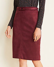 Curvy Faux Suede Belted Pencil Skirt
