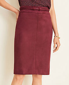 Tall Faux Suede Belted Pencil Skirt