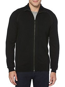 Perry Ellis Full-Zip Cotton-Blend Sweater BLACK