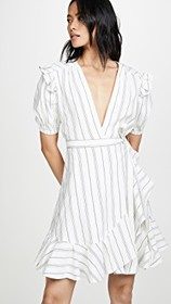 7 For All Mankind Ruffle Sleeve Shoulder Wrap Dres