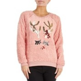 THYME & HONEY Reindeer Sequin Sherpa Pull Over