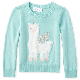 Baby And Toddler Girls Embellished Animal Sweater