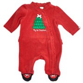 Baby Girl's Ruffle Trim First Christmas Velour Foo
