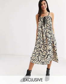 Another Reason volume midi dress with drawstring d