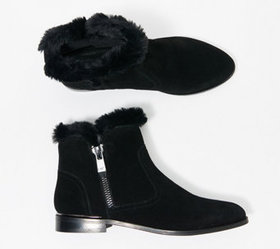 Marc Fisher Faux Fur Trimmed Suede Ankle Boots - R