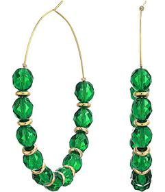 Kenneth Jay Lane Faceted Emerald with Gold\u002FLa