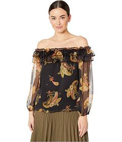 Vince Camuto Long Sleeve Paisley Spice Ruffled Off