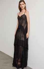 BCBG Strappy Sequin Embroidered Gown