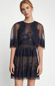 BCBG Embroidered Tulle Capelet Dress