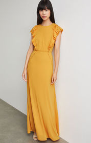 BCBG Pleated Ruffle Gown