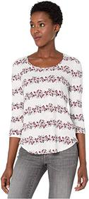 Lucky Brand 3/4 Sleeve Floral Stripe Scoop Neck Te