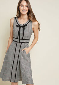 Expertly Accentuated A-Line Dress in Houndstooth B