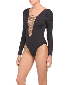 KENNETH COLE Long Sleeve Lace Up Swimsuit