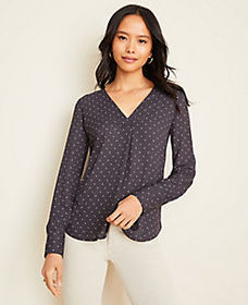 Dotted Mixed Media Pleat Front Top