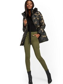 Camo Faux Fur-Trim Hooded Puffer Jacket - New York
