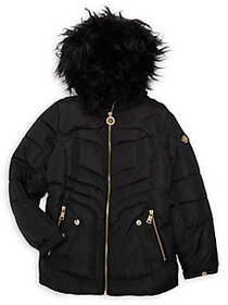 DKNY Girl's Faux Fur Trimmed Puffer Coat BLACK
