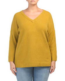 FRENCH CONNECTION Plus Flossy V-neck Sweater