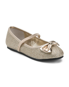 NINA Glitter Leather Ballet Flats With Bow (Toddle