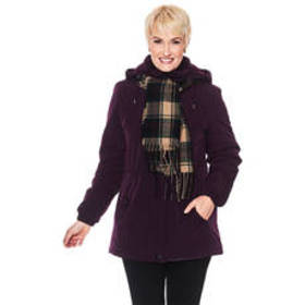 Plus Size Gallery Faux Silk Poly Stadium Coat with