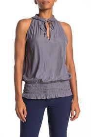 Ramy Brook Mindy Pleated Ruched Sleeveless Blouse