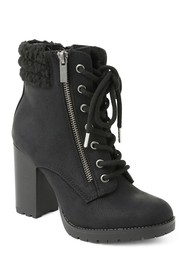 XOXO Jeanna Faux Shearling Cuff Lace-Up Bootie
