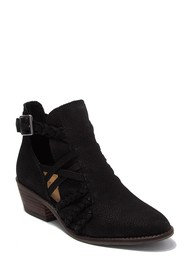 Lucky Brand Forbas Leather Cutout Block Heel Ankle
