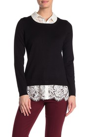 Adrianna Papell Lace Combo Twofer Sweater