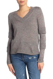 Design History Speckled Ruffle Sleeve Pullover Swe