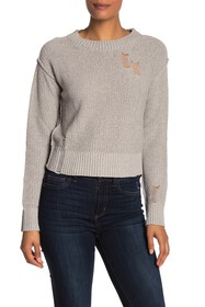 n:PHILANTHROPY Shell Distressed Crew Neck Sweater