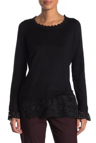 Adrianna Papell Lace Knit Combo Sweater
