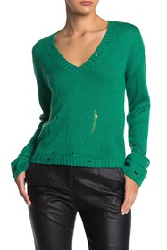Lovers + Friends Aidan Distressed V-Neck Sweater