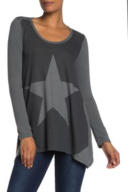 Go Couture Long Sleeve Handkerchief Tunic Sweater