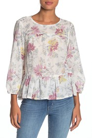 Lucky Brand Embroidered Ruffle Hem Top
