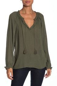 Lucky Brand Giselle Ruffle Trim Peasant Blouse